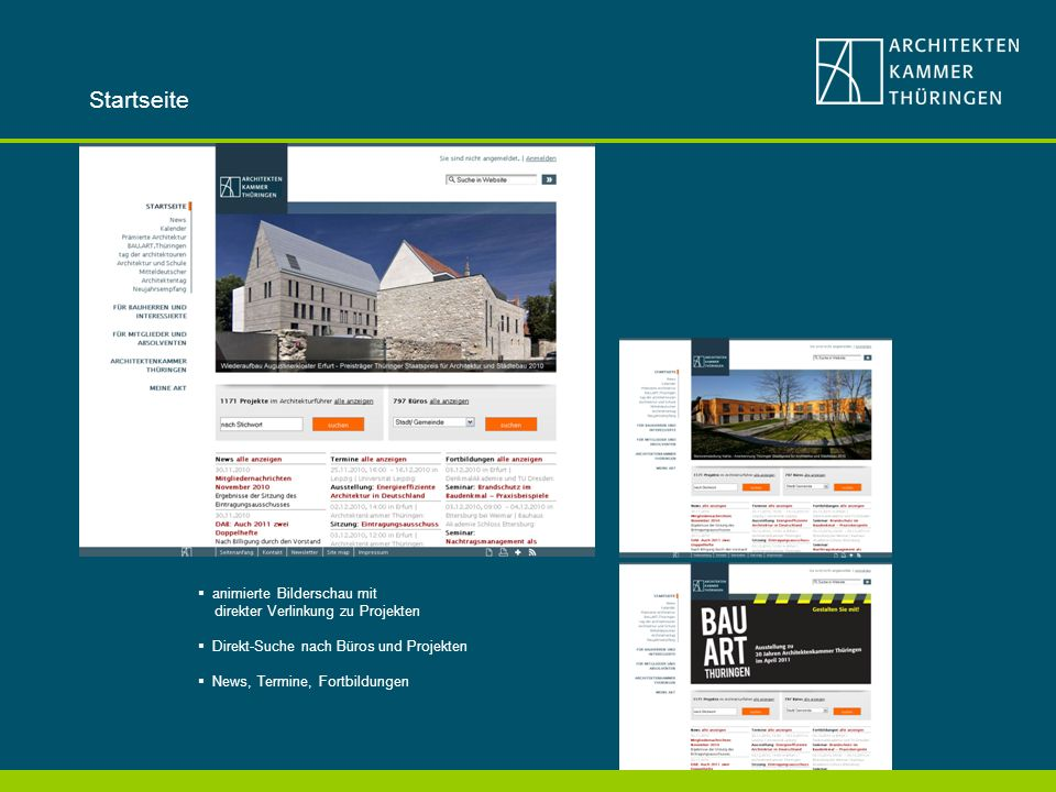 Startseite animierte Bilderschau mit direkter Verlinkung zu Projekten