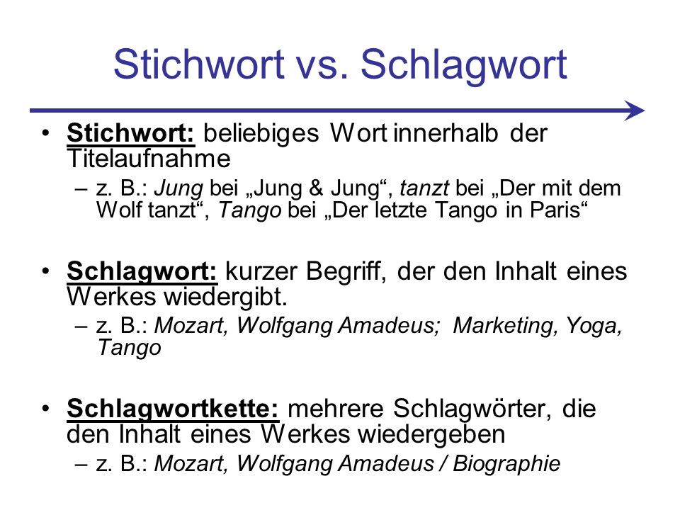 Stichwort vs. Schlagwort