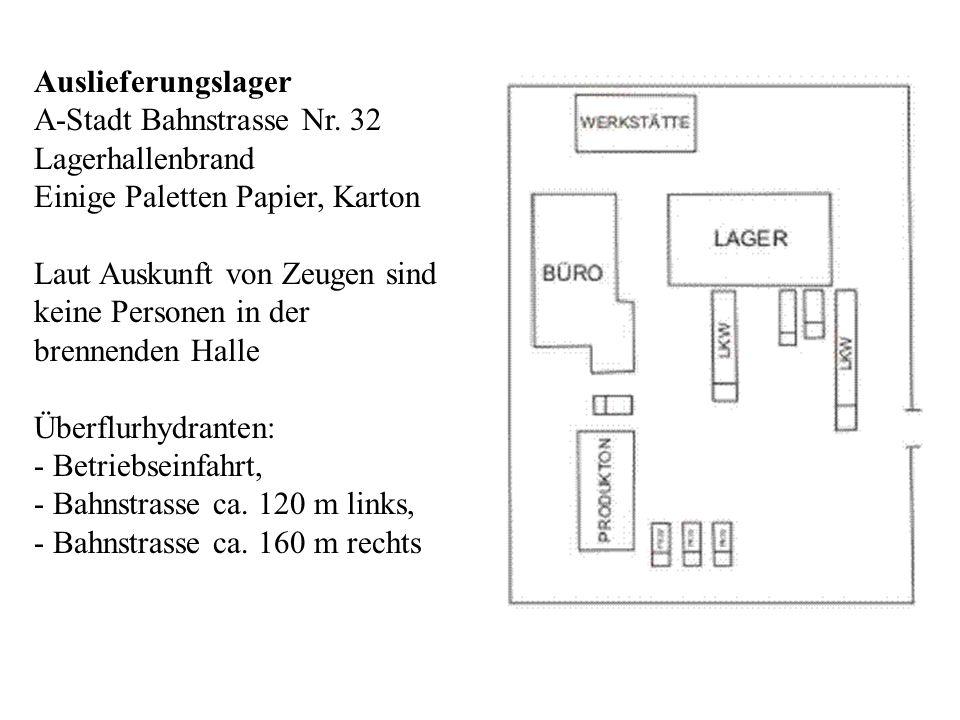 Auslieferungslager A-Stadt Bahnstrasse Nr. 32. Lagerhallenbrand. Einige Paletten Papier, Karton. Laut Auskunft von Zeugen sind.