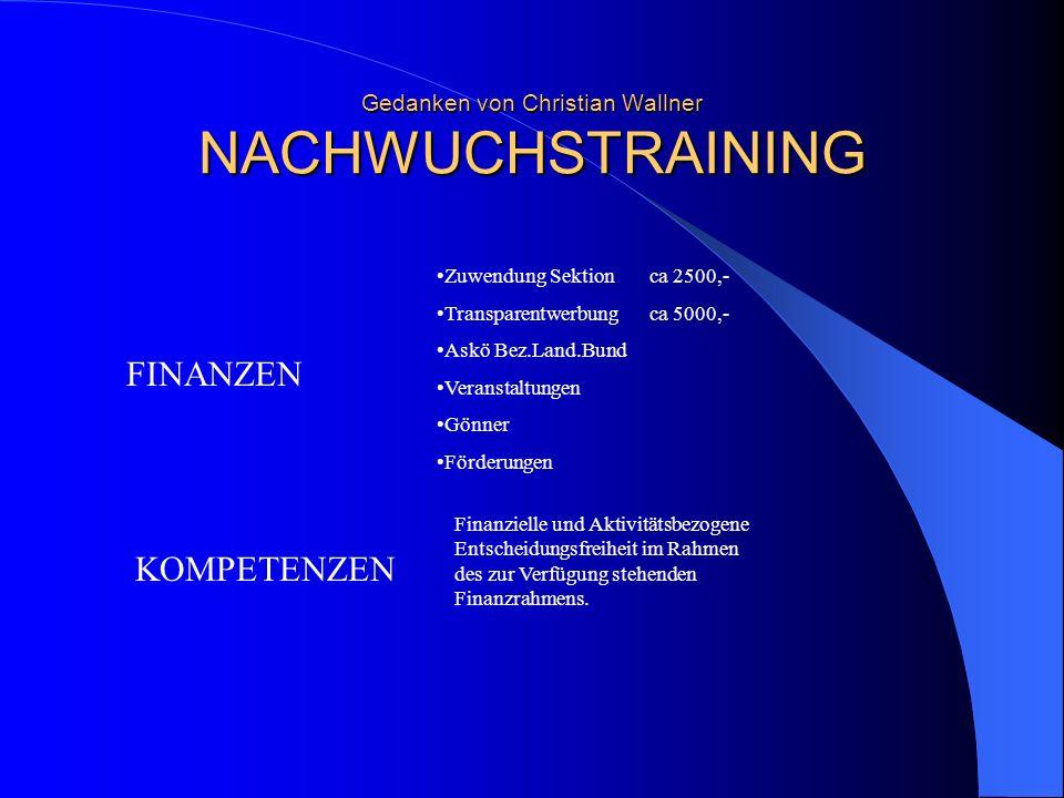Gedanken von Christian Wallner NACHWUCHSTRAINING
