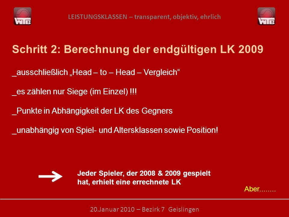 Schritt 2: Berechnung der endgültigen LK 2009