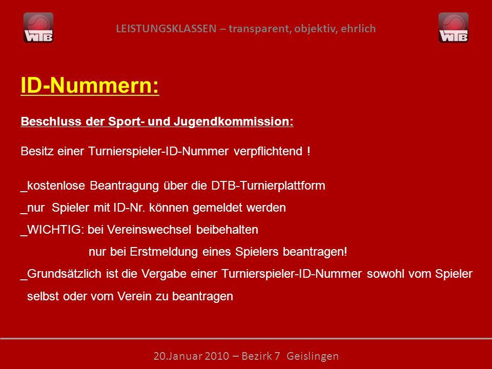 ID-Nummern: Beschluss der Sport- und Jugendkommission: