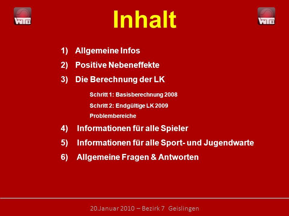 Inhalt Allgemeine Infos Positive Nebeneffekte Die Berechnung der LK