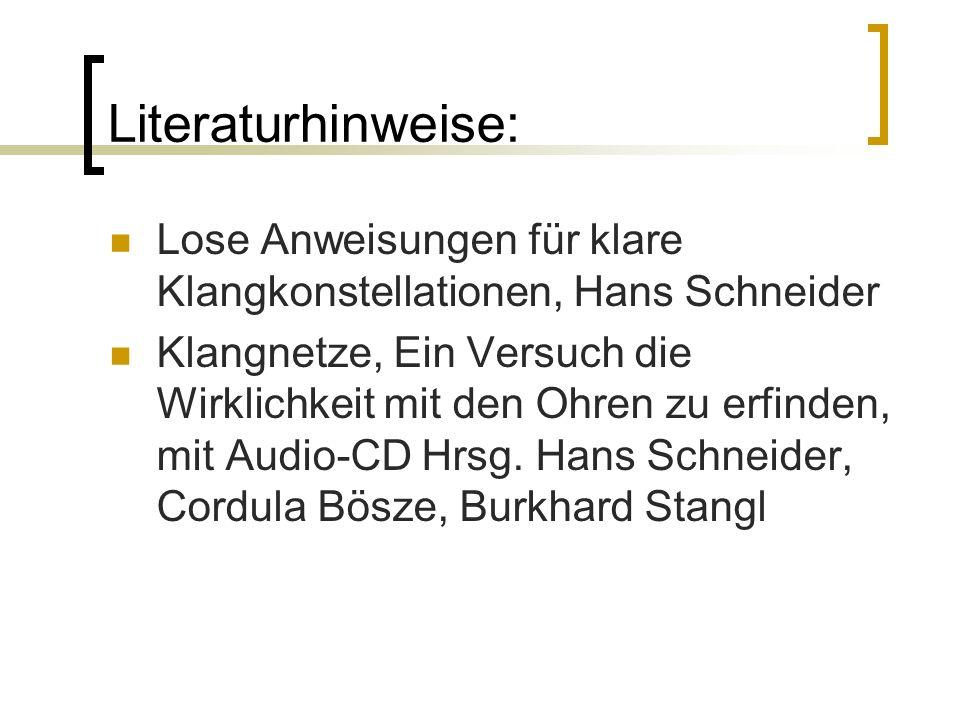 Literaturhinweise: Lose Anweisungen für klare Klangkonstellationen, Hans Schneider.