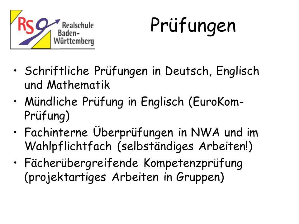 Prüfungen Schriftliche Prüfungen in Deutsch, Englisch und Mathematik