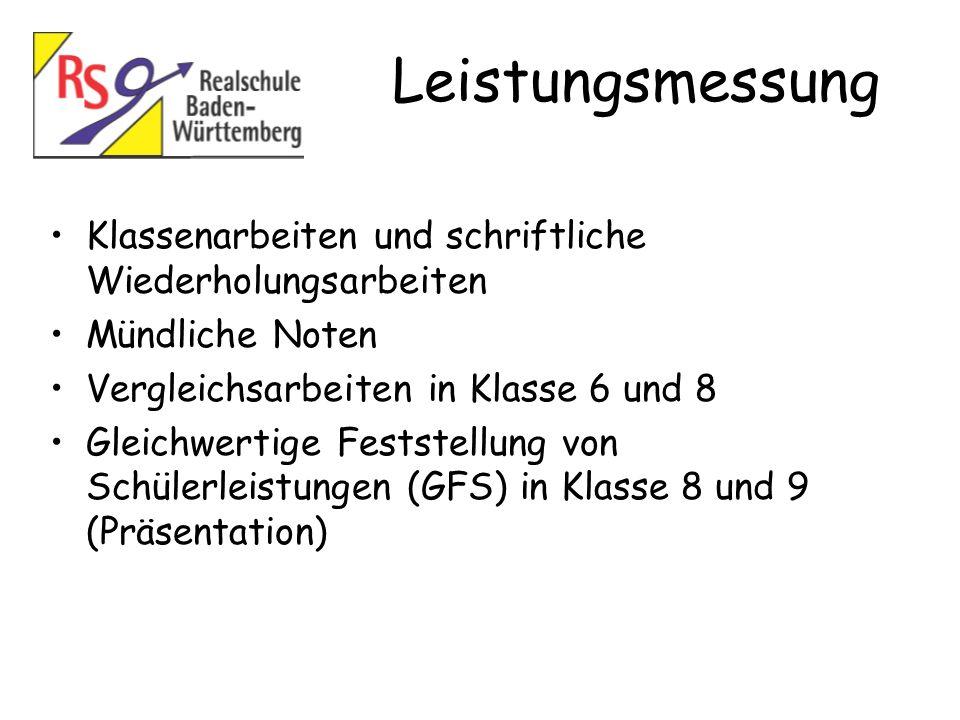 Leistungsmessung Klassenarbeiten und schriftliche Wiederholungsarbeiten. Mündliche Noten. Vergleichsarbeiten in Klasse 6 und 8.