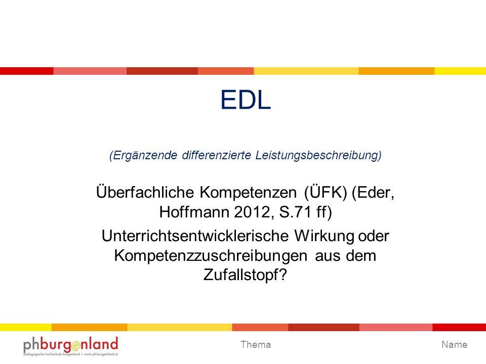 EDL (Ergänzende differenzierte Leistungsbeschreibung)