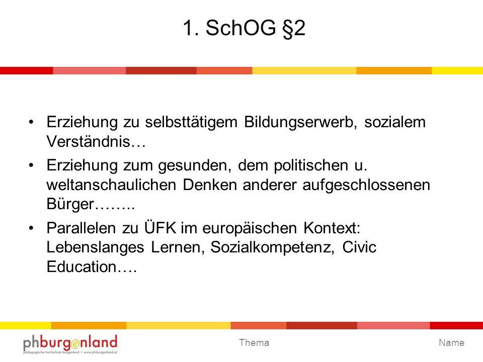 1. SchOG §2 Erziehung zu selbsttätigem Bildungserwerb, sozialem Verständnis…