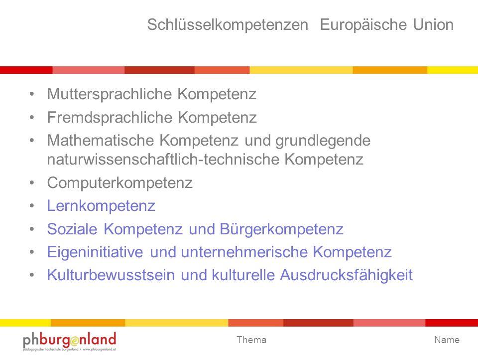 Schlüsselkompetenzen Europäische Union