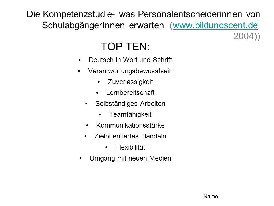 Die Kompetenzstudie- was Personalentscheiderinnen von SchulabgängerInnen erwarten (www.bildungscent.de, 2004))