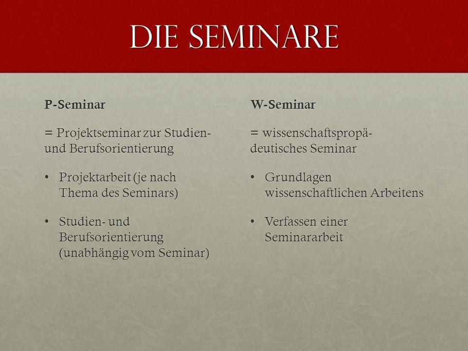 Die Seminare P-Seminar