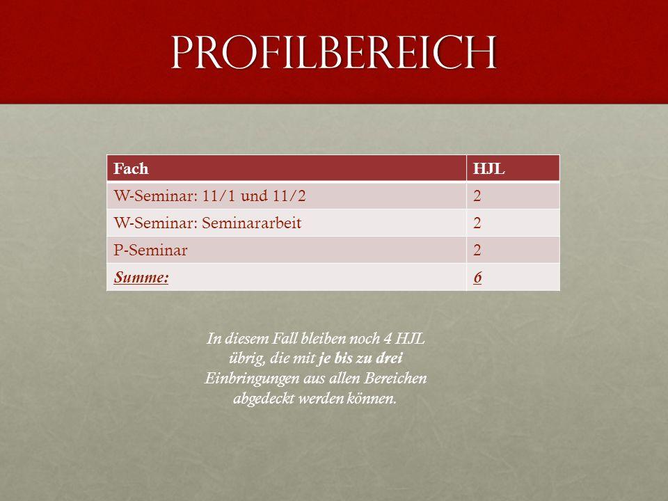 Profilbereich Fach HJL W-Seminar: 11/1 und 11/2 2