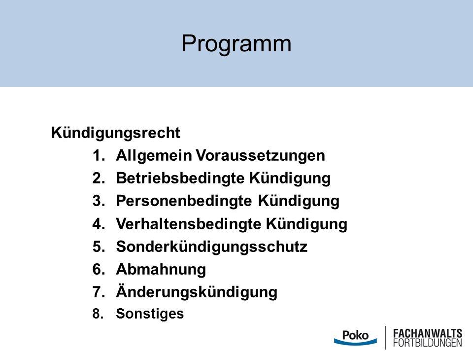 Programm Kündigungsrecht Allgemein Voraussetzungen