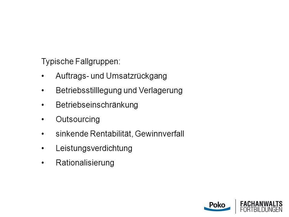 Typische Fallgruppen: