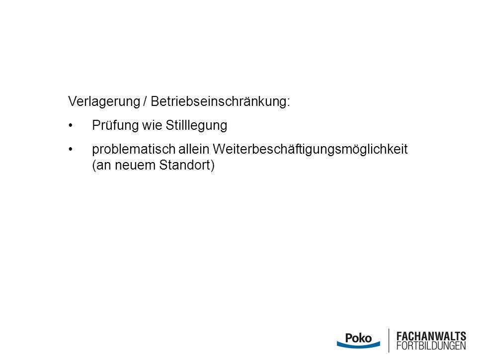 Verlagerung / Betriebseinschränkung: