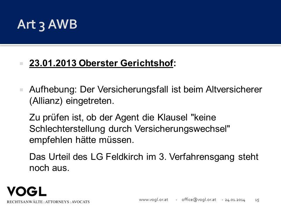 Art 3 AWB 23.01.2013 Oberster Gerichtshof: