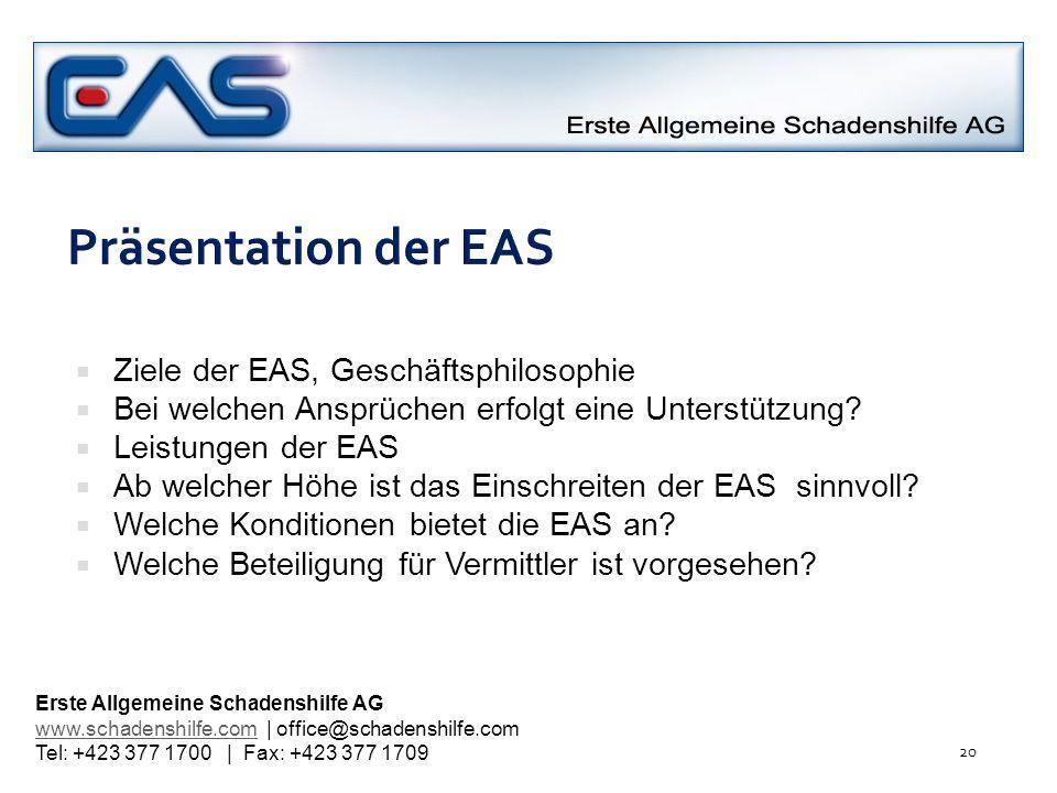 Präsentation der EAS Ziele der EAS, Geschäftsphilosophie