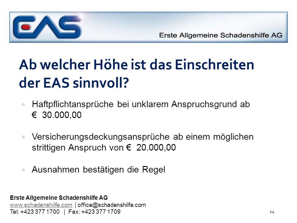 Ab welcher Höhe ist das Einschreiten der EAS sinnvoll