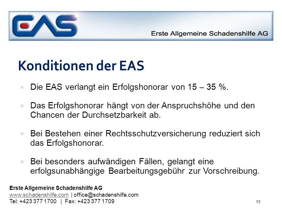 Konditionen der EAS Die EAS verlangt ein Erfolgshonorar von 15 – 35 %.