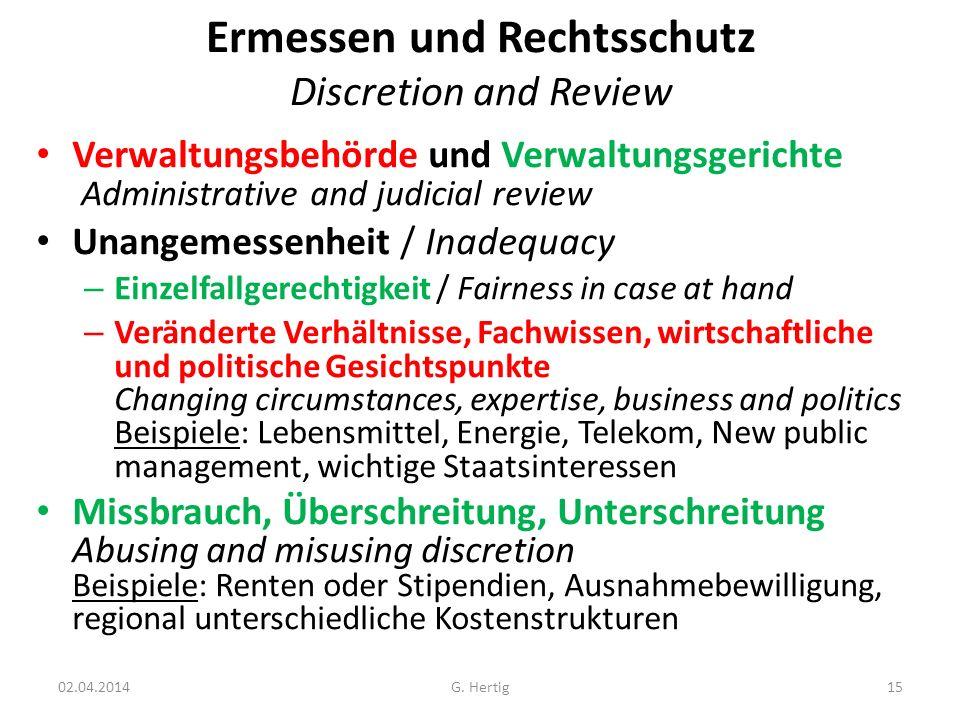 Ermessen und Rechtsschutz Discretion and Review