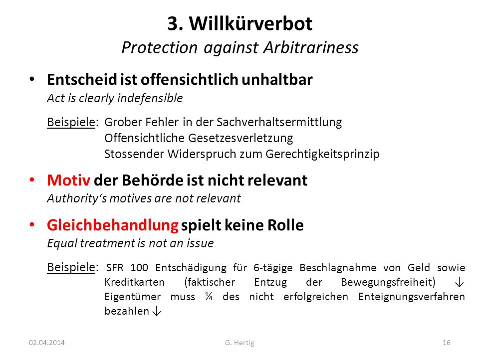 3. Willkürverbot Protection against Arbitrariness