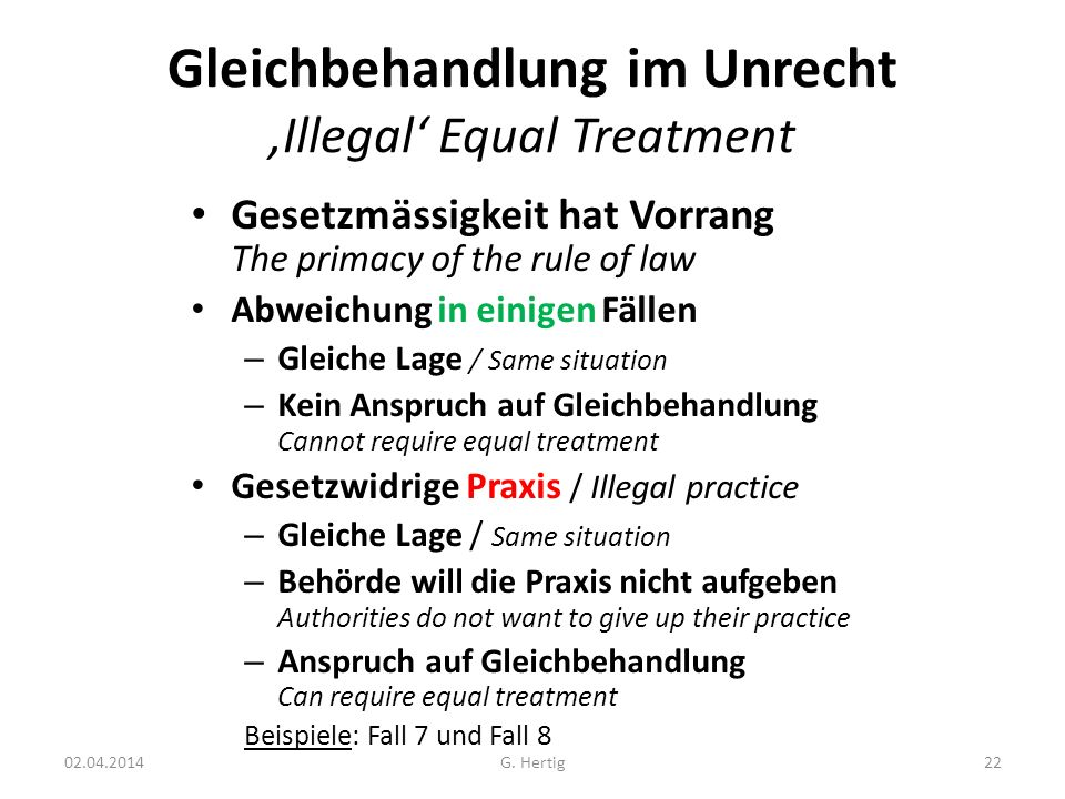 Gleichbehandlung im Unrecht 'Illegal' Equal Treatment