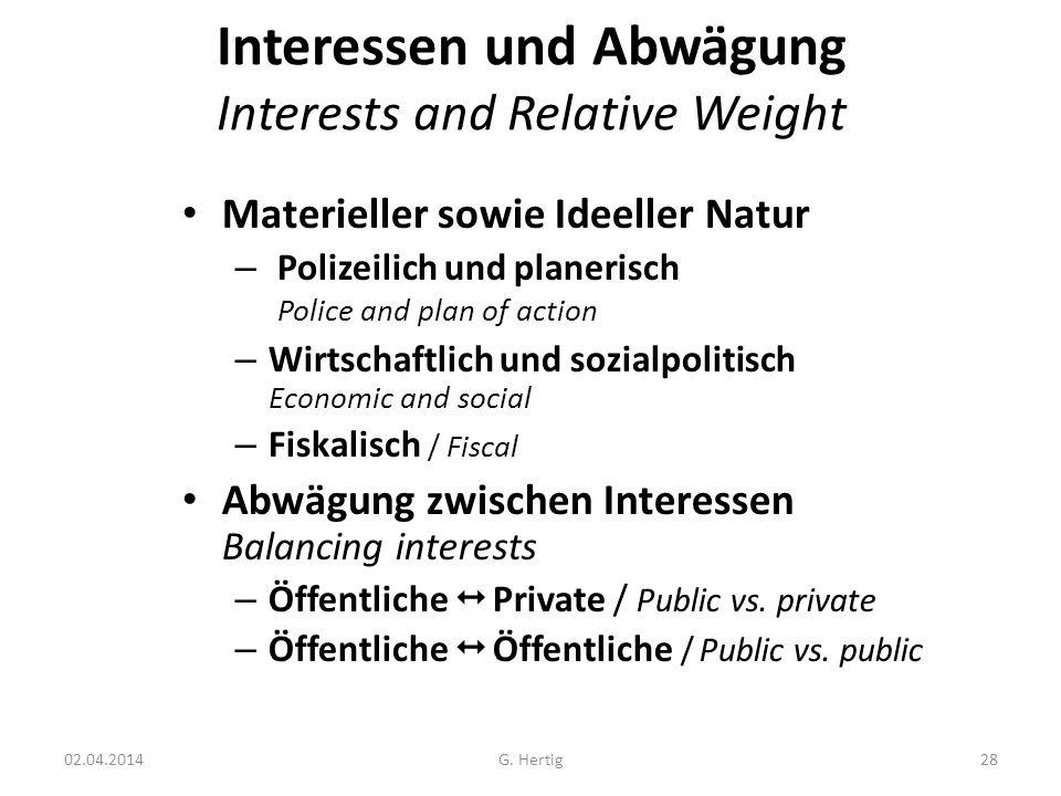 Interessen und Abwägung Interests and Relative Weight