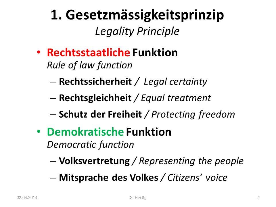 1. Gesetzmässigkeitsprinzip Legality Principle