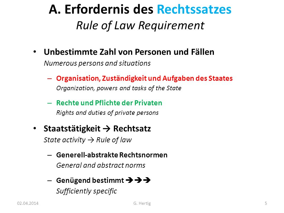 A. Erfordernis des Rechtssatzes Rule of Law Requirement