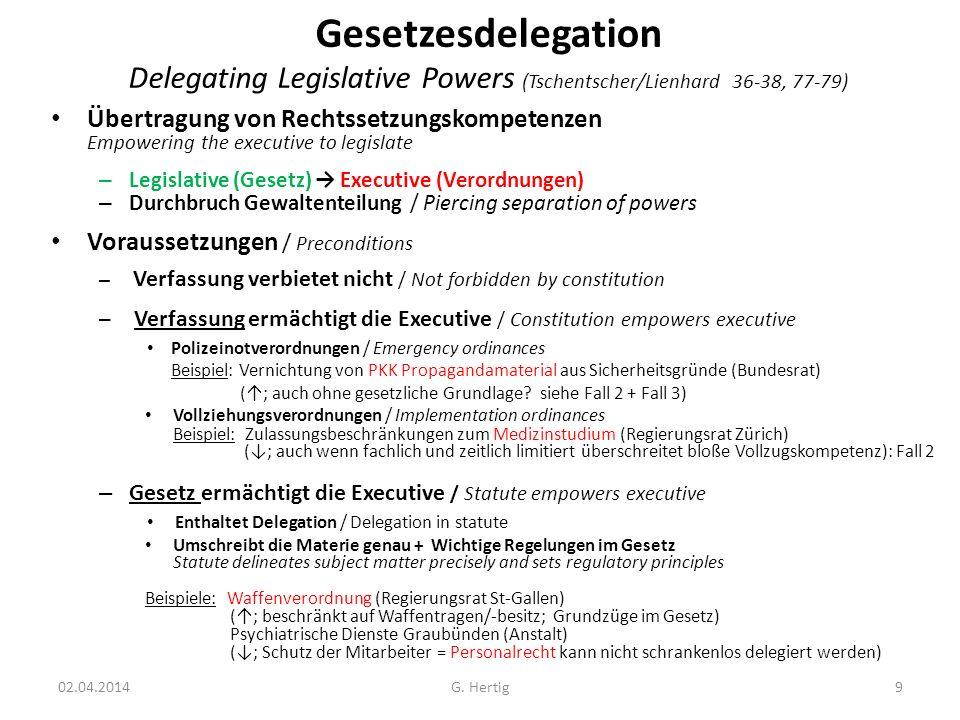 Gesetzesdelegation Delegating Legislative Powers (Tschentscher/Lienhard 36-38, 77-79)