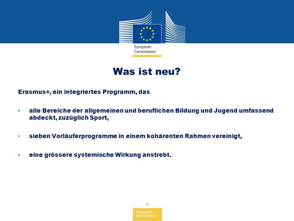 Was ist neu Erasmus+, ein integriertes Programm, das