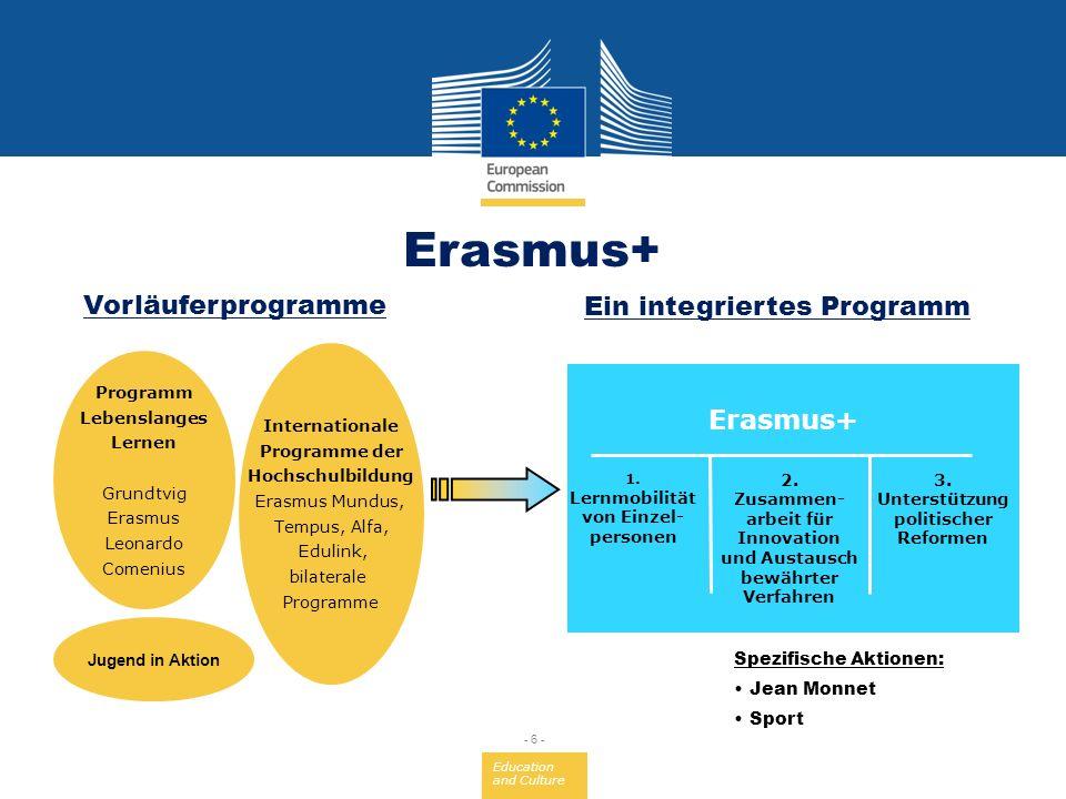 Erasmus+ Vorläuferprogramme Ein integriertes Programm Erasmus+