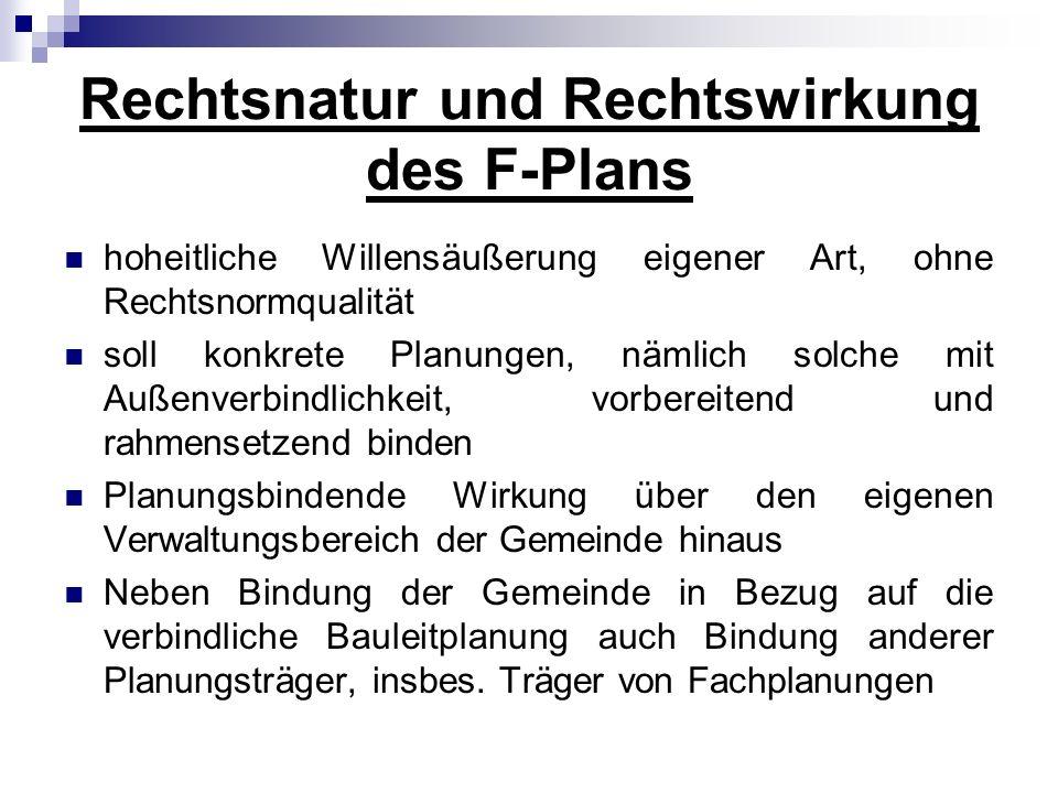 Rechtsnatur und Rechtswirkung des F-Plans
