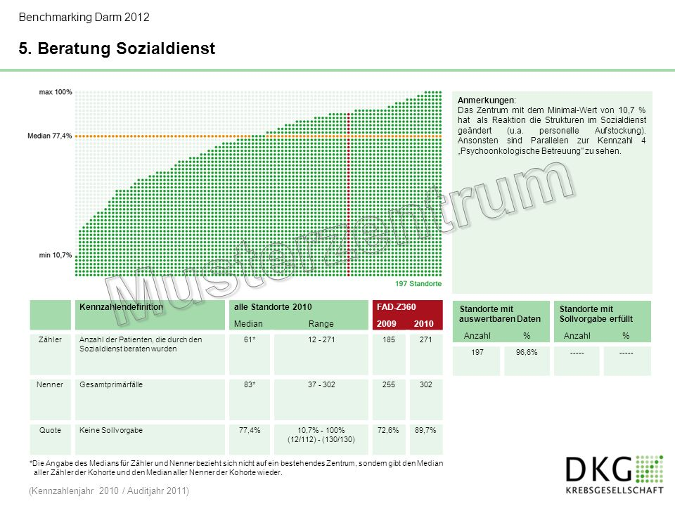 Musterzentrum 5. Beratung Sozialdienst Benchmarking Darm 2012