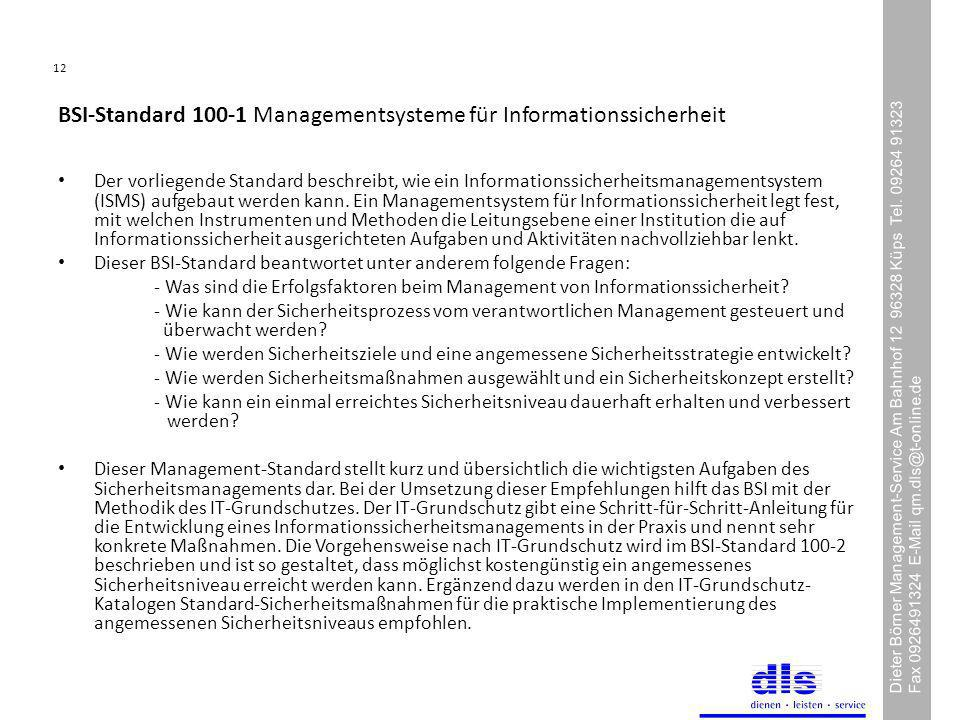 BSI-Standard 100-1 Managementsysteme für Informationssicherheit