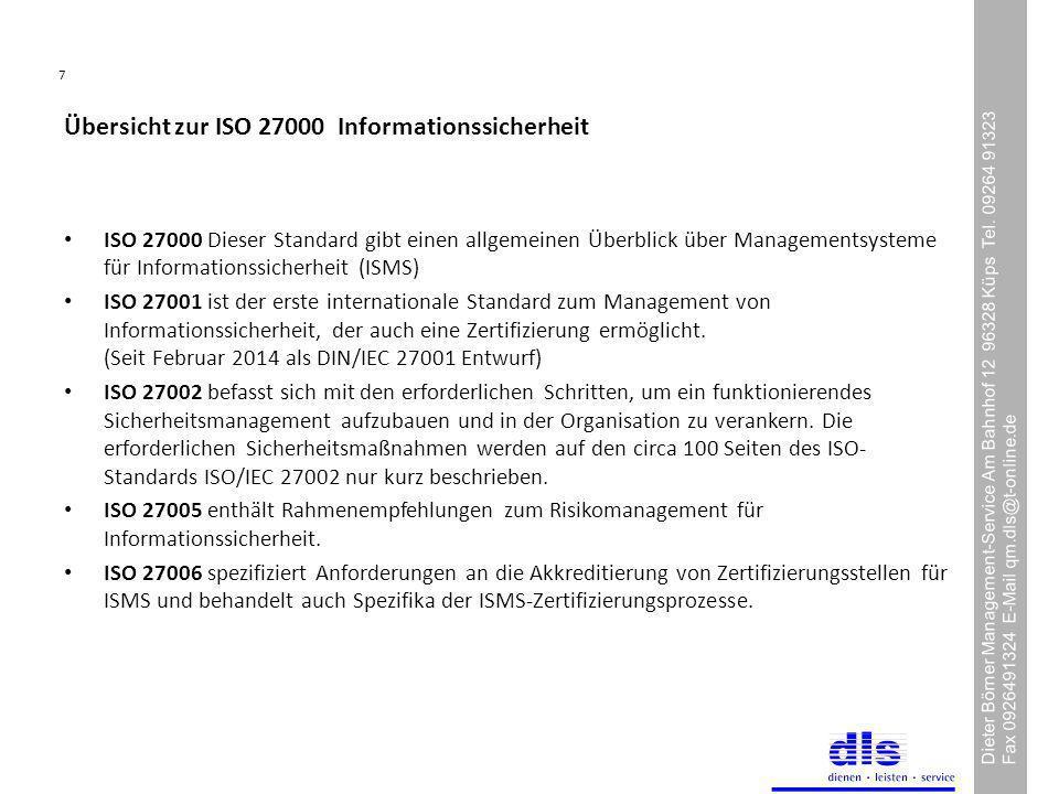 Übersicht zur ISO 27000 Informationssicherheit