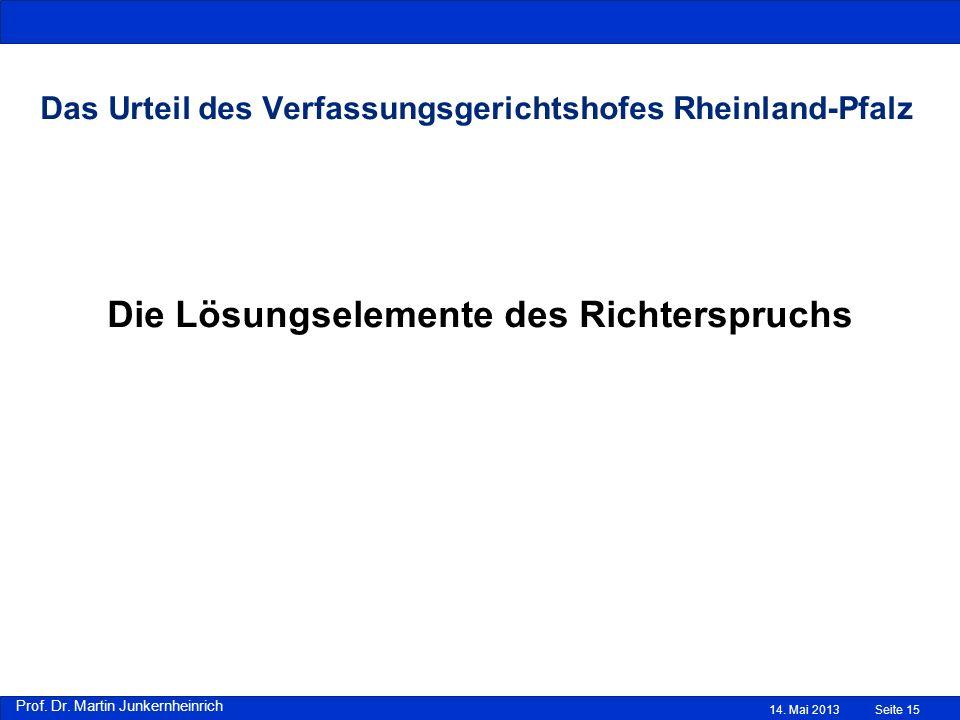 Das Urteil des Verfassungsgerichtshofes Rheinland-Pfalz