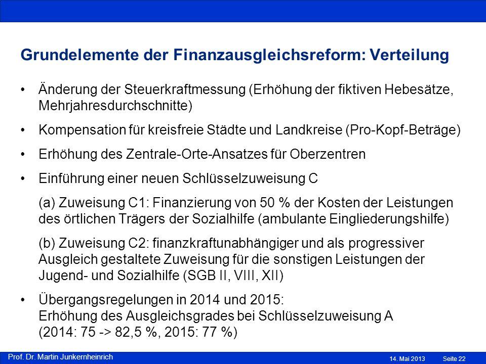 Grundelemente der Finanzausgleichsreform: Verteilung