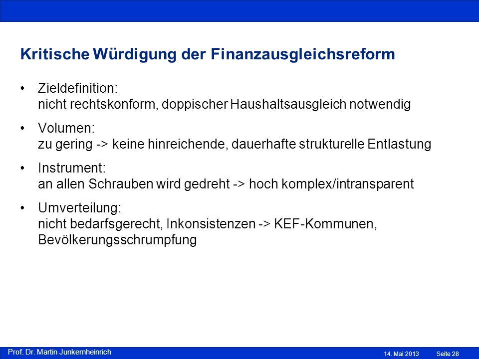 Kritische Würdigung der Finanzausgleichsreform