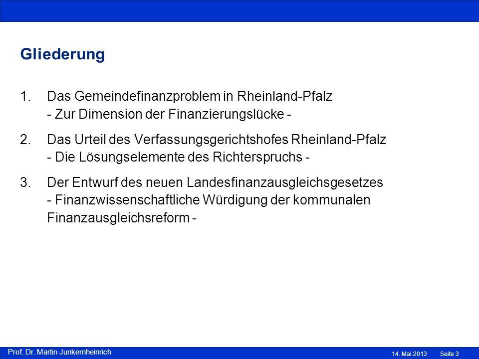 Gliederung Das Gemeindefinanzproblem in Rheinland-Pfalz - Zur Dimension der Finanzierungslücke -