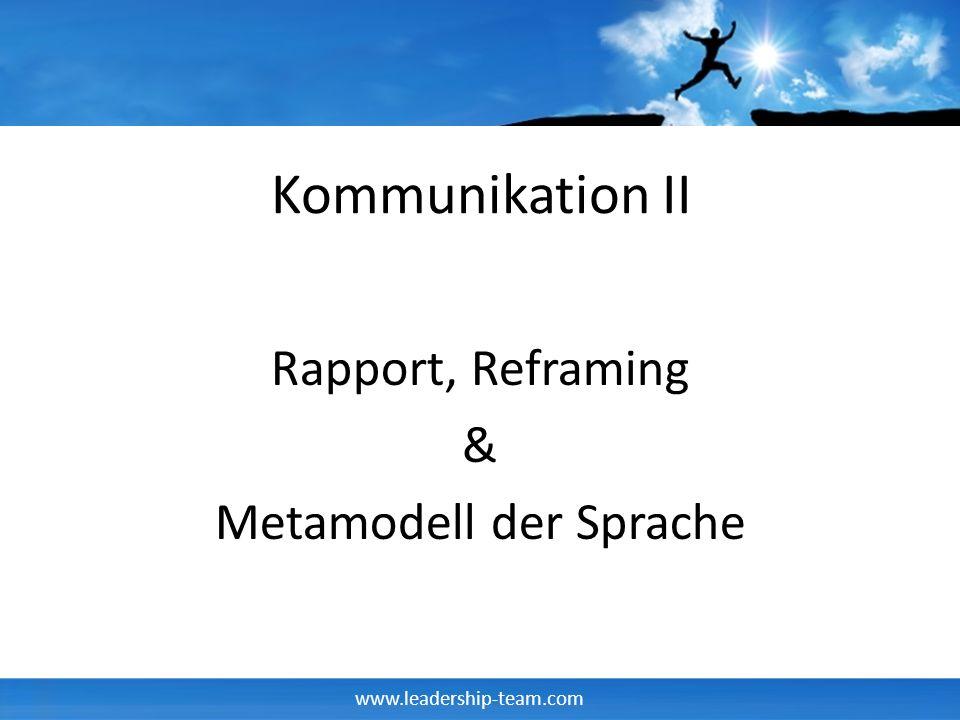 Rapport, Reframing & Metamodell der Sprache