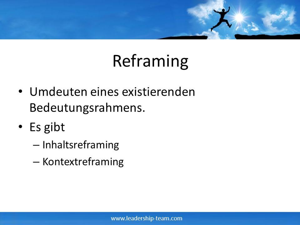Reframing Umdeuten eines existierenden Bedeutungsrahmens. Es gibt