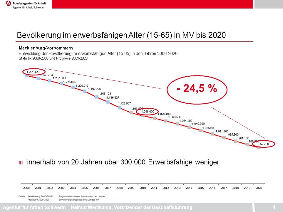 - 24,5 % Bevölkerung im erwerbsfähigen Alter (15-65) in MV bis 2020