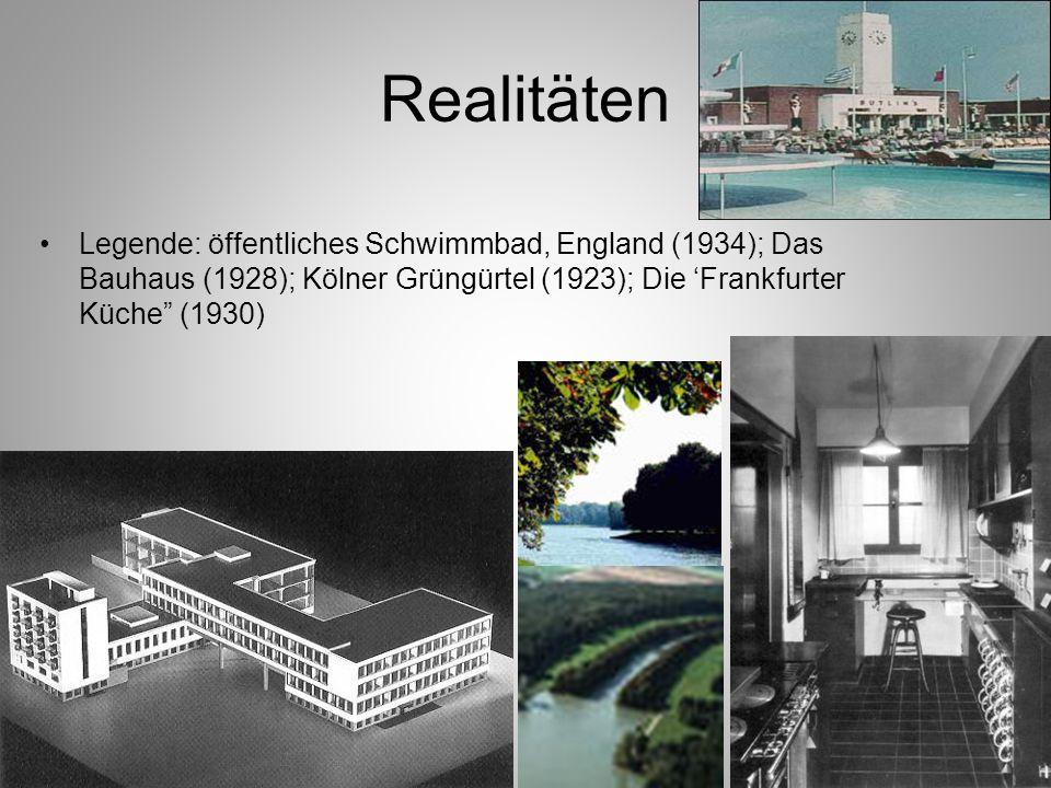 Realitäten Legende: öffentliches Schwimmbad, England (1934); Das Bauhaus (1928); Kölner Grüngürtel (1923); Die 'Frankfurter Küche (1930)