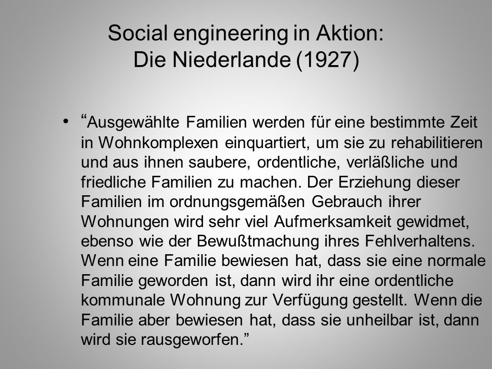 Social engineering in Aktion: Die Niederlande (1927)