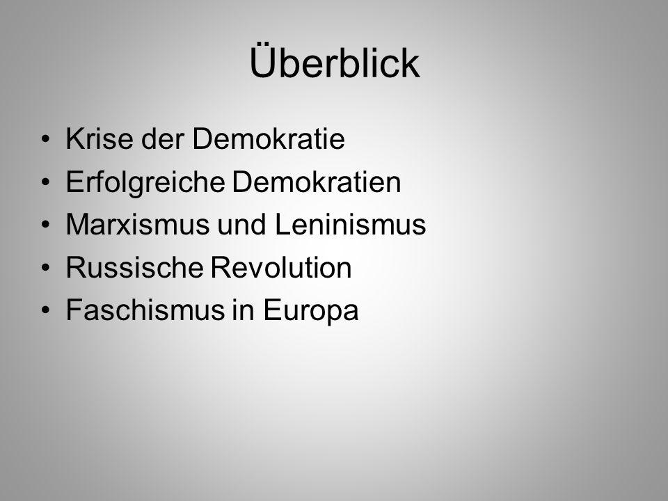 Überblick Krise der Demokratie Erfolgreiche Demokratien