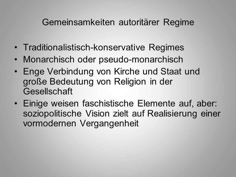 Gemeinsamkeiten autoritärer Regime