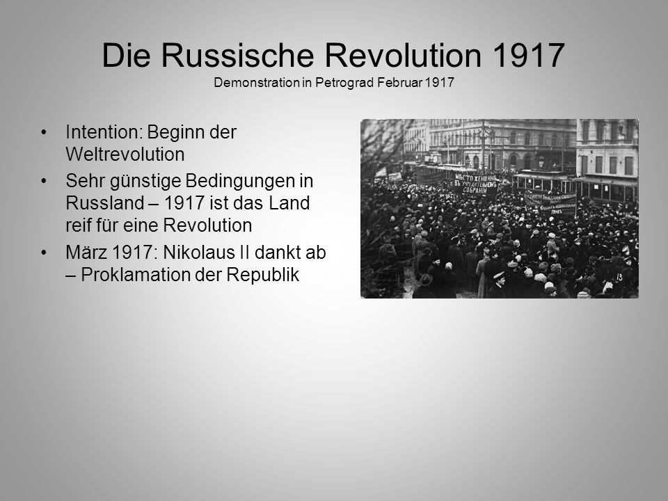 Die Russische Revolution 1917 Demonstration in Petrograd Februar 1917