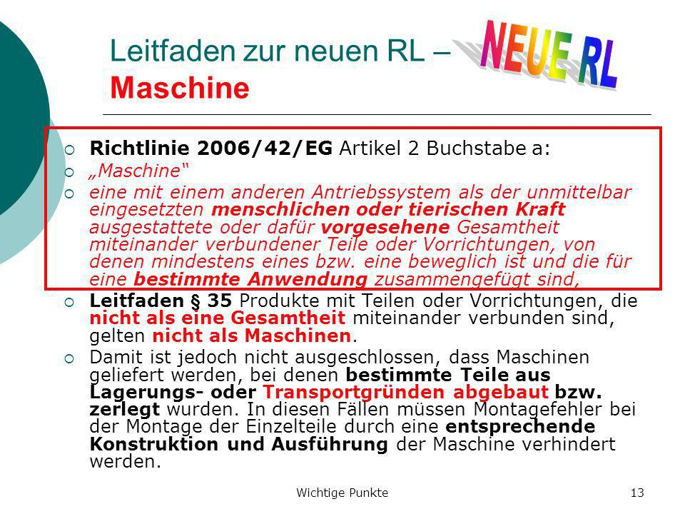 Leitfaden zur neuen RL – Maschine