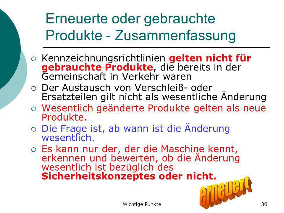 Erneuerte oder gebrauchte Produkte - Zusammenfassung